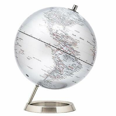 Exerz Educational Swivel World Globe Metallic Silver Desktop Globe Dia 25CM • 35.99£