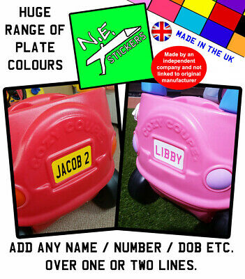 Personalised BACK Number Plate Sticker TO FIT Little Tikes Cozy Coupe Toy Car • 2£