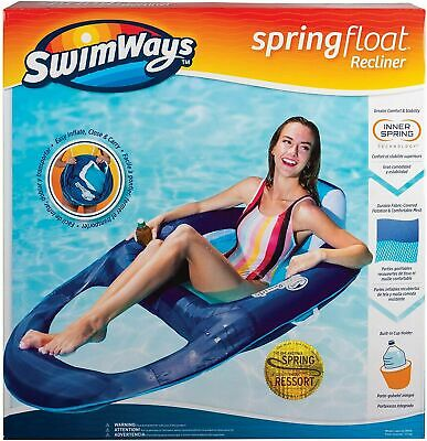 Swimways Inflatable Recliner Floating Lilo Swimming Pool Chair Cup Holder Fun • 15.99£