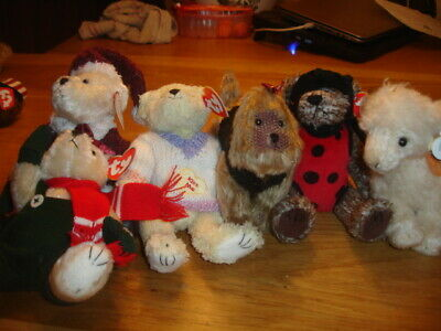 Ty Retired Attic Bears  Jointed  6 New   Fleeecie, Kaiser, Bugsy, Santa Bear,  • 18.99£