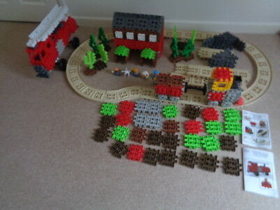 Little Tikes Waffle Blocks Steam Train - Sounds Track Figures & Fire Engine 2 Se • 20£