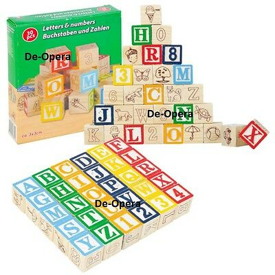 30 Pcs Wooden Cubes Numbers Alphabet Letters Child Kids Educational Game  • 8.95£
