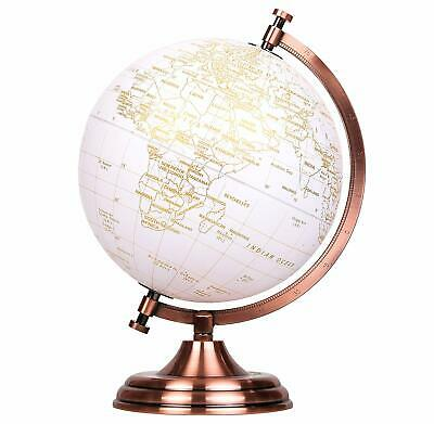 Exerz Educational Swivel World Globe Metallic Gold Desktop Globe Dia 20CM • 25.99£