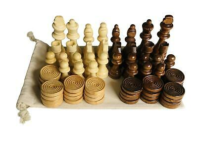 Wooden Chess Set Draughts Pieces Handcrafted Wood Large 9cm King Reusable Bag • 14.99£