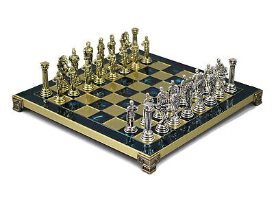 Brass Metal Blue And Gold Chess Set Roman Board Pieces Made In Greece 301b • 119.99£
