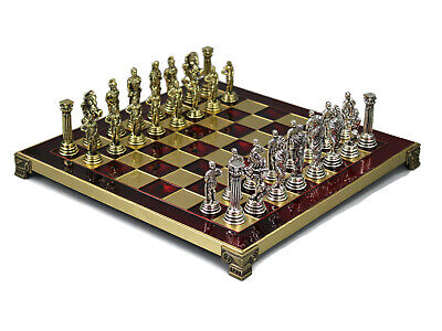 Greek Metal Red And Gold Chess Board Set Handmade Roman Pieces 200r • 89.99£