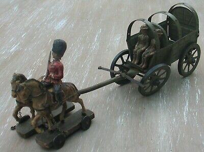 Vintage Hausser Elastolin Germany Tin Horse Drawn Army Carriage Soldiers • 85£