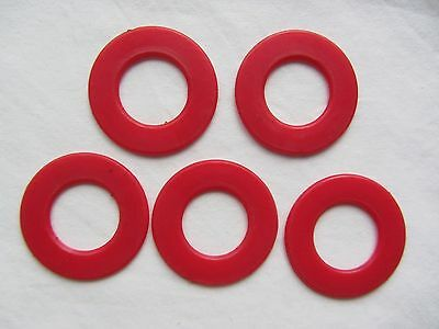 5 X GAME OF FIVES Red Ring Playing Pieces Vintage Board Ariel REPLACEMENT SPARES • 1.79£