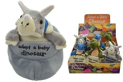 Adopt A Baby Dinosaur In Egg Soft Plush Cuddly Toy Great Gift Kids Teddy Dino • 5.99£