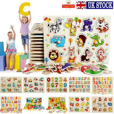 Baby Toddler Jigsaw Kids Puzzle Alphabet Letters Animal Wooden Learning Toys New • 3.79£