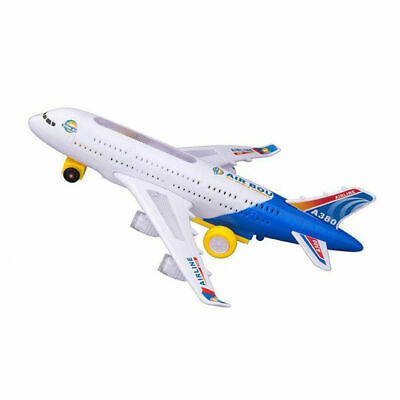 UK Stock Bump&Go Aeroplane Flashing Led Light Music Toy Airbus Plane Kids Toys • 6.49£