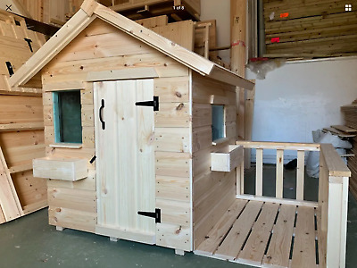 Childrens Wooden Play House Wendy House WithVeranda Suit Small Child TOP QUALITY • 194.99£