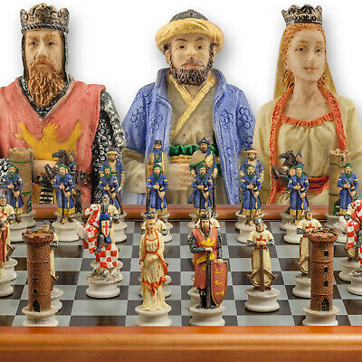 The Chessmen Hand Painted Crusades Chess Set With 3  King And 40cm Chessboard • 66.95£