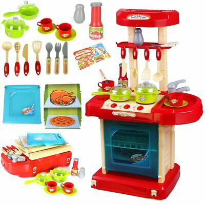 Childrens Kids Kitchen Cooking Role Play Pretend Toy Cooker Game Set With Sound • 17.09£
