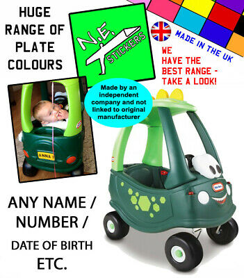 Front & Rear Personalised Number Plates TO FIT Little Tikes Cozy Coupe DINO Car • 2.35£
