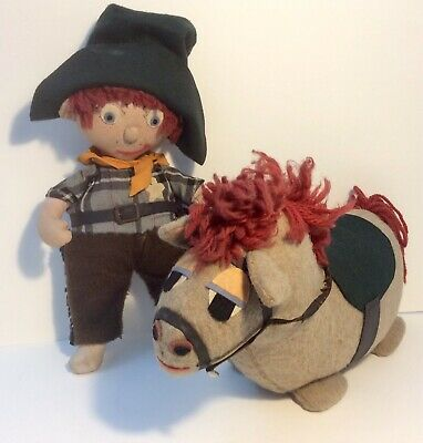 Vintage 1960s Craft Large Cowboy & Horse Hand Made Stuffed Soft Cuddly Toy Plush • 24.99£