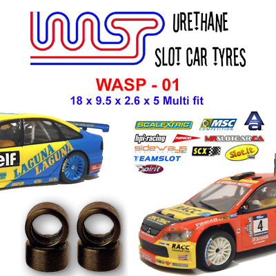 Urethane Slot Car Tyres X 4 Wasp 01 18 X 9 X 2.6 X 5 Multi Brand Fit • 6£
