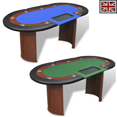 10 Player Casino Poker Table Dealer Area With Removable Chip Tray Blue/Green UK • 230.59£