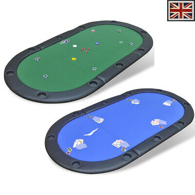 10 Player Casino Foldable Poker Tabletop With Racetrack/Cup Holder Blue/Green UK • 74.99£