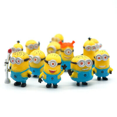 12 Pcs/Set Mini Minions 1.5  Pvc Figures Doll Toy Gift Decorations Cake Toppers • 9.99£