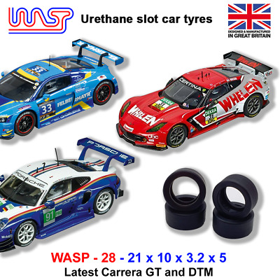 Urethane Slot Car Tyres X 4 Wasp 28 Carrera Latest GT & DTM NEW • 6£