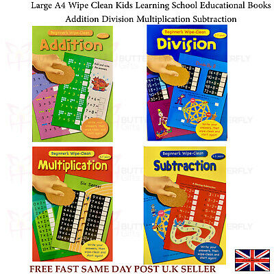 Large A4 Wipe Clean Kids Learning School Educational Books Maths Addition Divide • 2.99£
