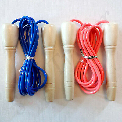 Skipping Rope With Wooden Handle Jump Play Sport Exercise Workout Kids Adult UK • 3.75£
