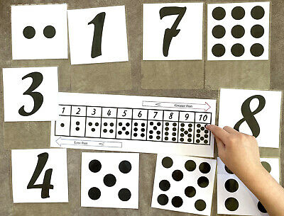 Numbers Flash Cards 1 To 10 Double Sided + Greater/Less Mat Math EYFS Learning • 1.99£