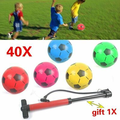 40pcs PVC PLASTIC FOOTBALLS 8.5  FLAT PACKED UN INFLATED SOCCER KIDS TOYS • 11.19£
