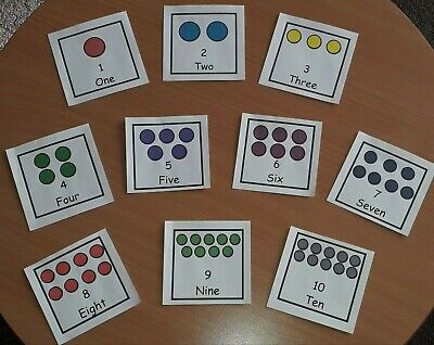 Number Counting Cards Flashcards Pre-school Childminder Nursery Maths Learning • 3.50£