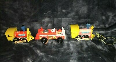 Vintage Fisher Price - 2 Toot Toot Pull Along Train Engines + Fire Engine - Toys • 14.99£