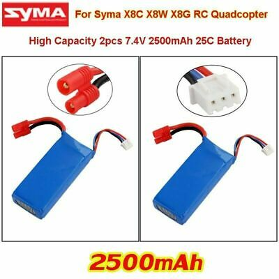 7.4V 2500mAh 25C Big Capacity Batteries Replacements Fr Syma X8C/W/G RC Drone • 16.99£