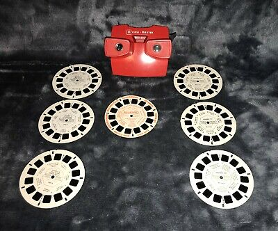 Vintage Viewmaster Model J Viewer Red & Peanuts, Postman Pat, Preview Reels • 24.99£
