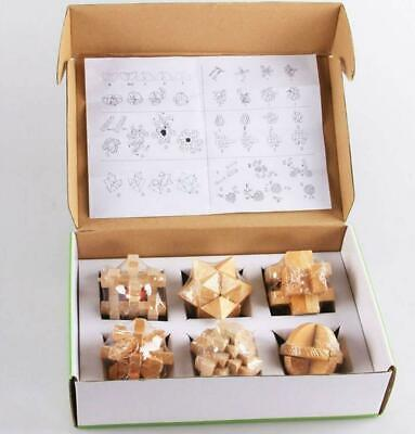 A Set Of 6 3D Wooden Classic Cube Genius Puzzles And Brain Teasers Old Chin L2P7 • 7.50£