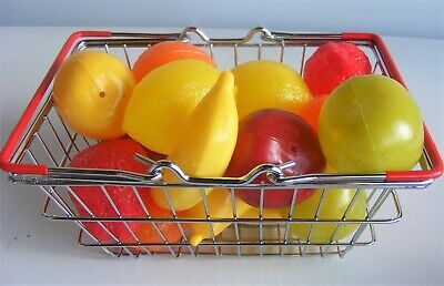 16pc Mini Toy Wire Basket & Fruit Ideal Pretend Role Play Food Kitchen Cafe Shop • 14.95£