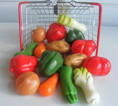 16pc Mini Toy Wire Basket & Vegetables Ideal Pretend Play Food Kitchen Cafe Shop • 15.50£