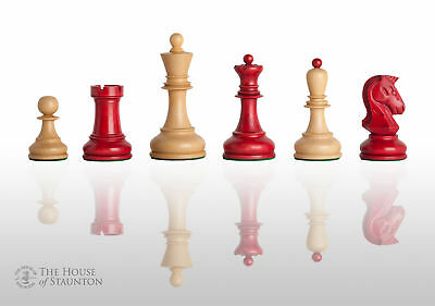 The Dubrovnik Chess Set - Pieces Only - 3.75  King - Red Gilded • 173.12£