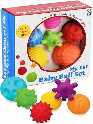 6 Piece First Baby Ball Set Baby Hand Massage Multi Textured Sensory Soft Balls • 13.79£