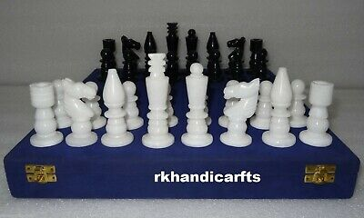 Marble Chess Coins Black & White Handmade Stone Chess Game Coins King Size 3'' • 137.93£