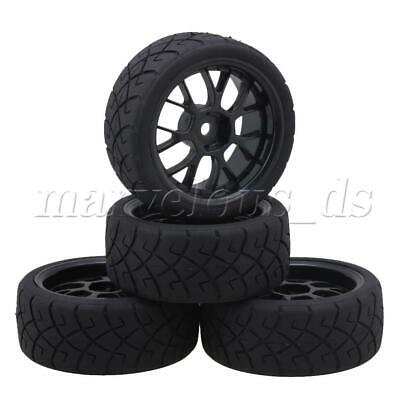 4x X Tires With Mesh Wheel Rims For RC1:10 On Road Car Black Articles Parts • 15.51£