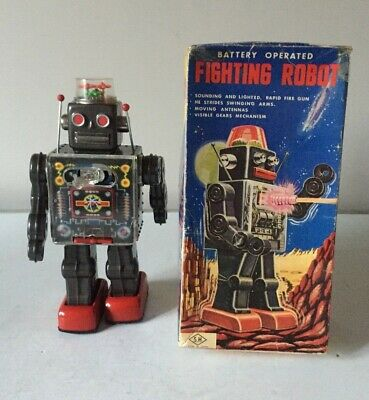 HORIKAWA TINPLATE  FIGHTING ROBOT  BATTERY OPERATED WORKING BOXED ~VINTAGE 1960s • 350£