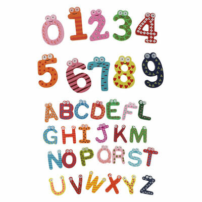 Funky Fun Colourful Wooden Magnetic Numbers Alphabet Letters Fridge Magnet Toy • 5.15£