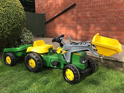 John Deere Kids Tractor Ride On With Front Loader And Rear Trailer • 75£