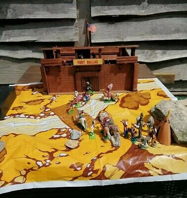Vintage Britains & Timpo Cowboys & Indians Wooden Fort COMPLETE BOXED Job Lot  • 33.77£