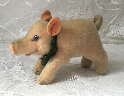 Adorable Vintage Steiff Wood Chip Filled Small Pig Missing Ear Button • 30£