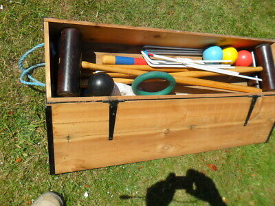 Hastings Vintage ? Croquet Set In Wooden Pine Box. Full Size? • 179.99£