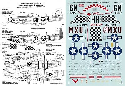 SUPERSCALE DECALS 1/48 P-51D Mustang 505th FS 339th FS 87th FS 78th FG (USAAF) • 6.99£