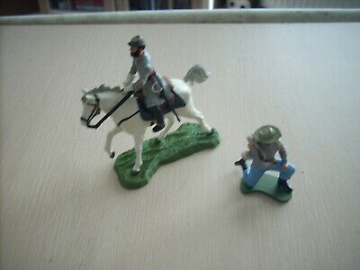 1/32 54mm Britains Swoppets Plastic Soldiers Acw Confederate & General Jackson ? • 2.86£