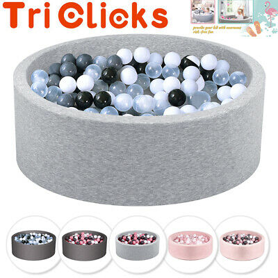 Soft Play Baby Ball Pit Paddling  Pool With 200 Balls Foam Grey Pink 90*30CM UK • 66.99£