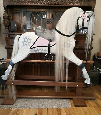 Large Vintage Collinson Rocking Horse, Traditional Hand Crafted Wooden Horse • 1,195£